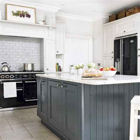 grey country kitchen country kitchen with grey island and black range cooker 1487