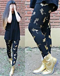 Karen Cardiel - Golden Cats Leggings Golden Cowboy Boots Hu0026M Black Basic Tshirt Ombre Long ...