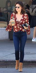 Lucy Hale Steps Out in Lace-Up Floral Top and Skinny Jeans ...