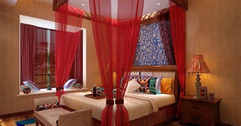 romantic red  poster canopy bed curtain designs