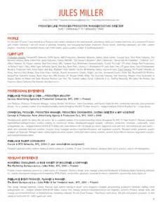 producer resume skills jules miller production resume
