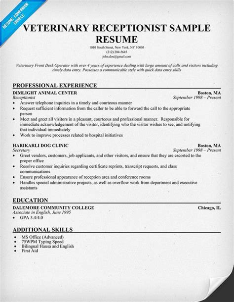 cover letter for veterinary receptionist with no