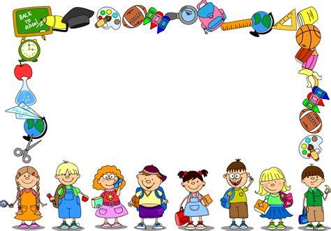 文房具と子供達で囲んだフレーム Cartoon School