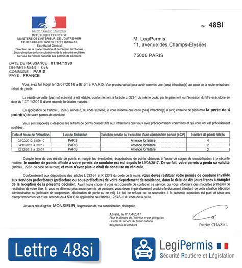 si e e 3 lettres lettre 48si invalidation du permis que faire legipermis
