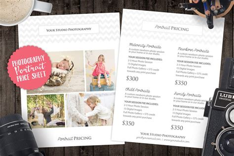 price list sell sheet  cover templates creative market