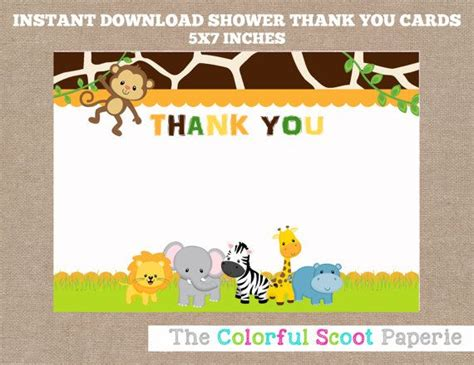 animal thank you card template instant jungle baby shower thank you cards