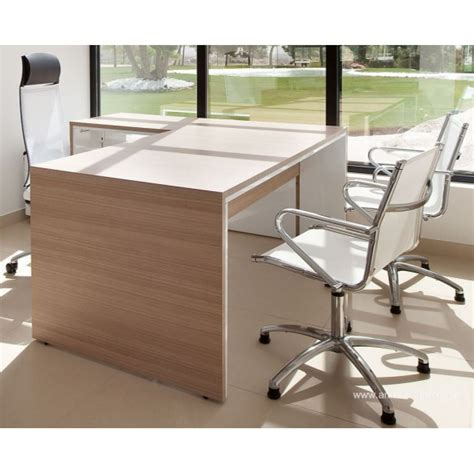 bureau de direction blanc bureau de direction urbana finition teack naturel et blanc
