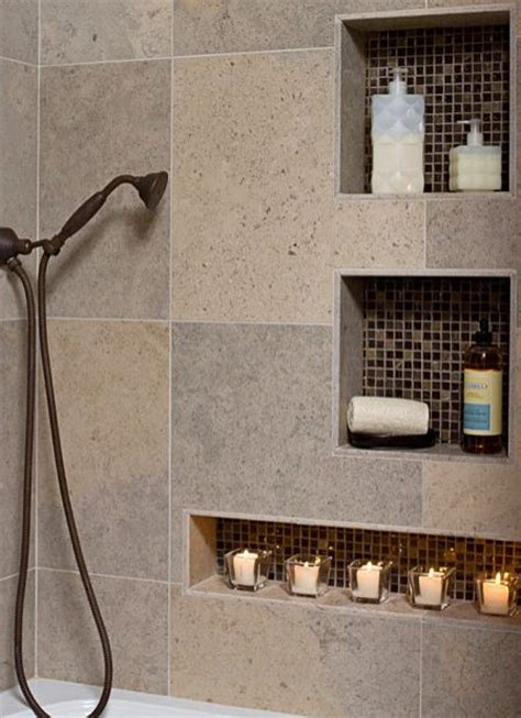 shower niche nook recessed shelf  reduce clutter