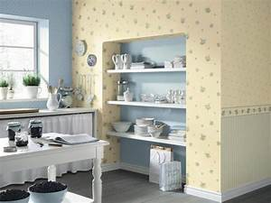 White kitchen cabinets and modern wallpaper ideas for for Kitchen colors with white cabinets with plier papier
