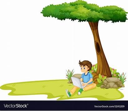 Tree Under Boy Clipart Using Laptop Vector