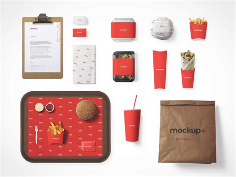 4 free business cards mockup psd. Fast Food Packaging, Bag, Tray & Clipboard PSD Mockup ...