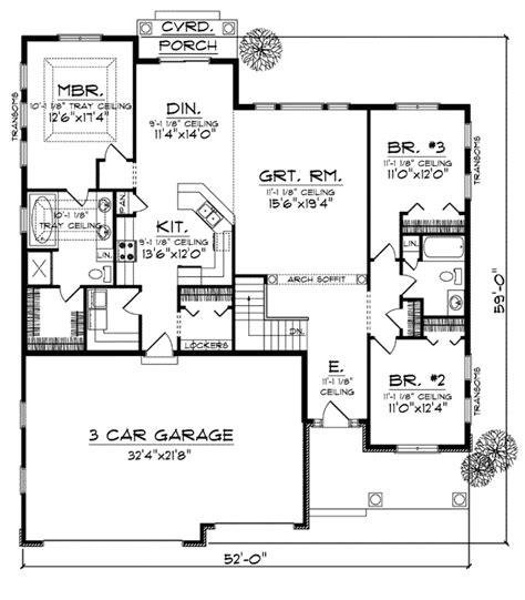 bungalow style house plan    bed  bath