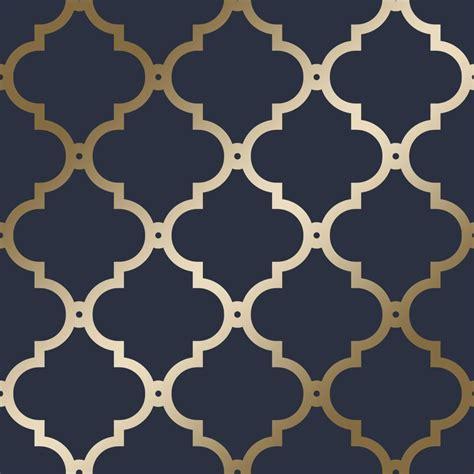 love wallpaper morocco trellis wallpaper navy gold