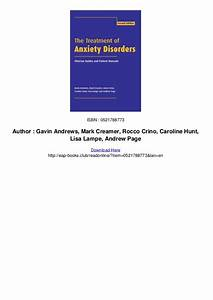 The Treatment Of Anxiety Disorders Clinician Guides And