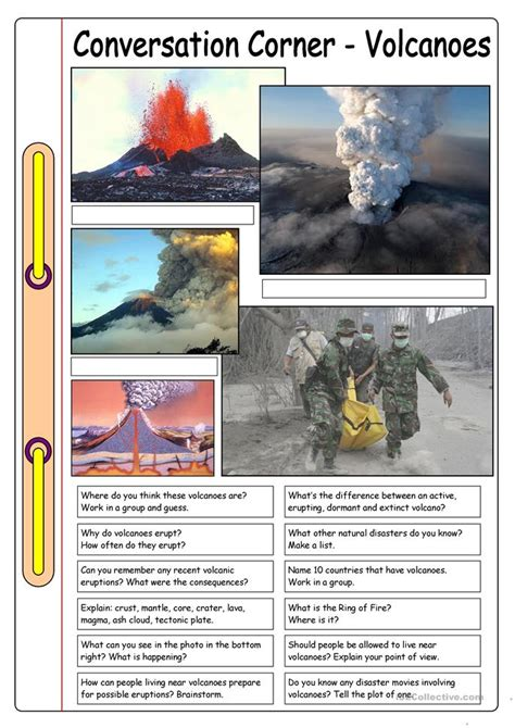 conversation corner volcanoes worksheet  esl