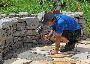 Trockenmauer Bauen Ohne Fundament : terrassenplatten preiswert verlegen ~ Lizthompson.info Haus und Dekorationen