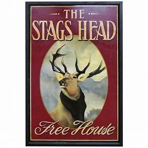 English Pub Sign - The Stags Head (Free House) at 1stdibs