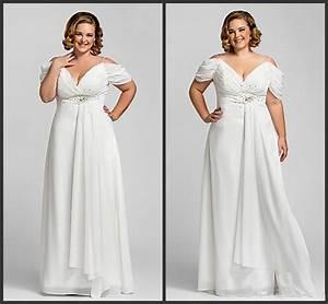 55new elegant off shoulder empire beads chiffon plus size for Plus size off the shoulder wedding dress