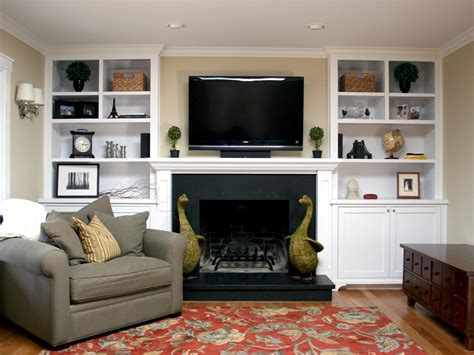 Living Room. Tall White Wooden Bookcase With Cream