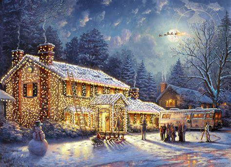 christmas painting  thomas kinkade