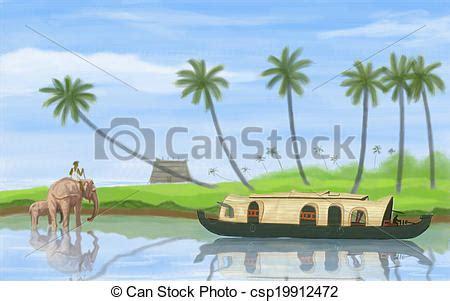 Onam Boat Icon by Painting Style Illustration Of Backwater Of Kerala Stock
