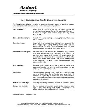 key resume components 28 images typable acting resume