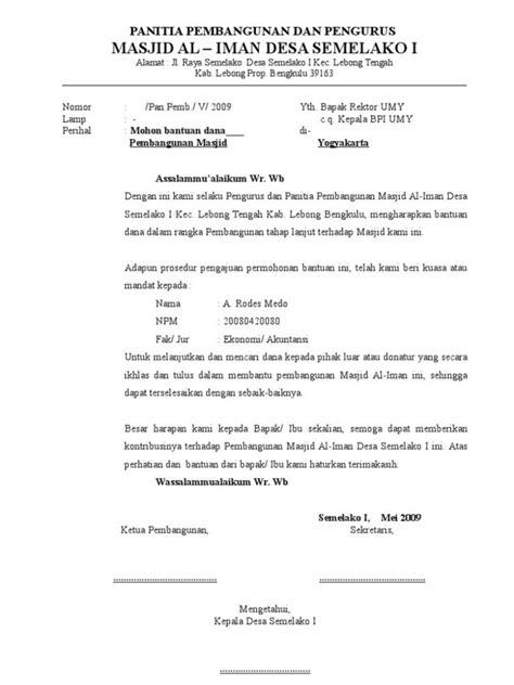 kumpulan contoh surat permohonan dana izin bantuan