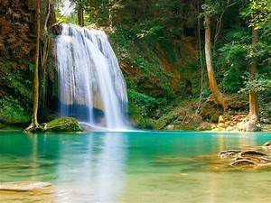 Nature, Falls, Pool, With, Turquoise, Green, Water, Rock, Coast