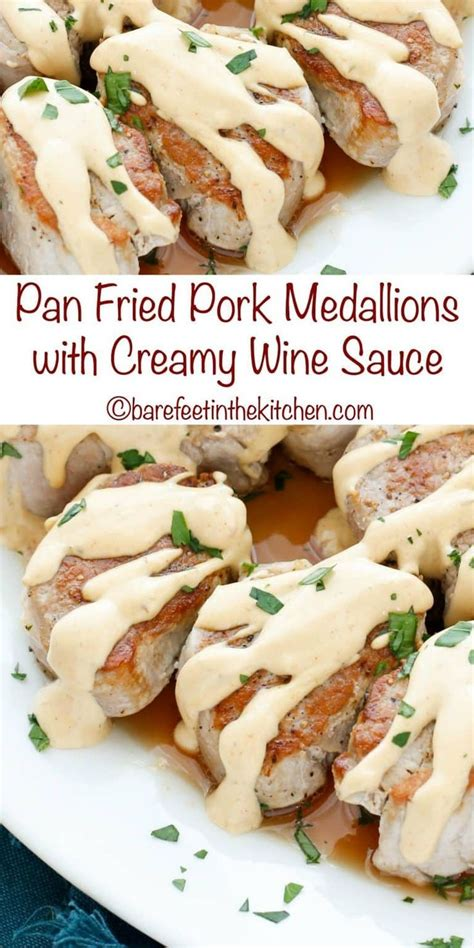 1 boneless pork loin, about 3 pounds (1.4 kg). Pan Fried Pork Medallions in a Creamy Wine Sauce are a quick and easy 25 minute minute dinner ...