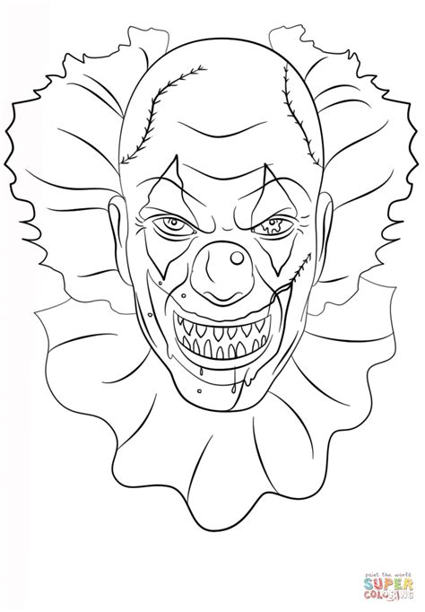 Scary Clown coloring page | Free Printable Coloring Pages