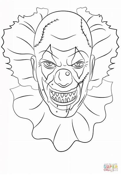 Clown Kleurplaten Scary Coloring