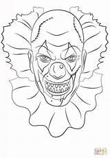 Coloring Clown Scary Pages Printable Drawing sketch template