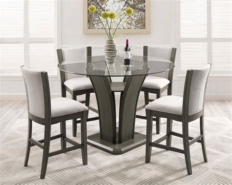 crown mark camelia grey counter height glass dining set