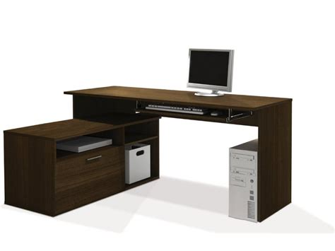 l shaped wooden computer desk with cabinet decofurnish