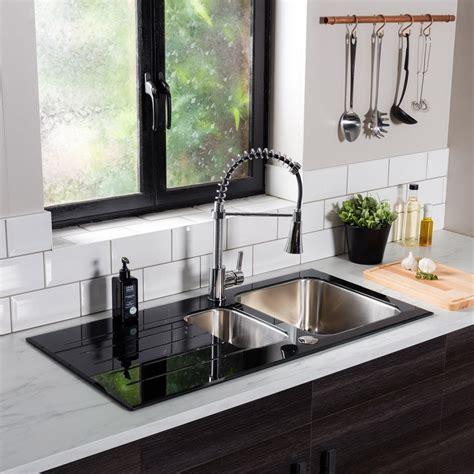 black stainless kitchen sink reversible black glass stainless steel kitchen sink