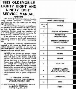1993 Oldsmobile 88 And 98 Repair Shop Manual Original