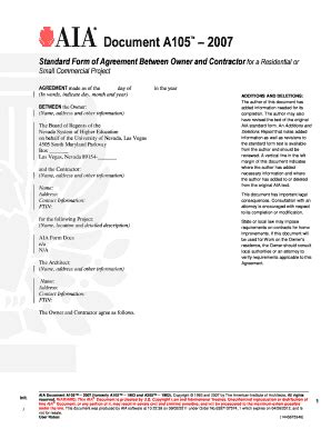 Aia A305 Template by Fillable Document A105 2007 The American