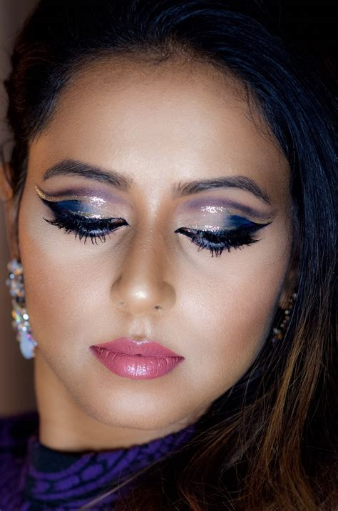 glitter double cut crease makeup  holidays indian