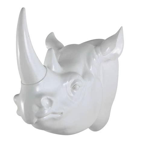 chambre ado blanche déco murale tête de rhinocéros en résine blanche l 45 cm