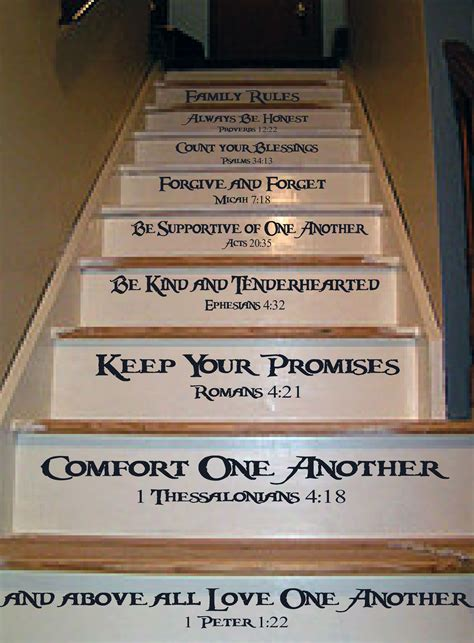 family rules stair decal   log home ideas living