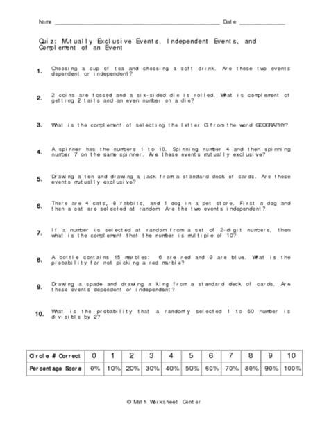 probability mutually exclusive events worksheet answers