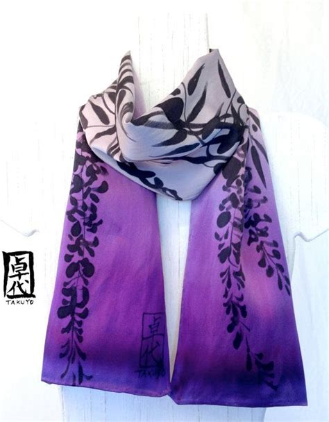 scarf floral painted silk scarf purple floral scarf by