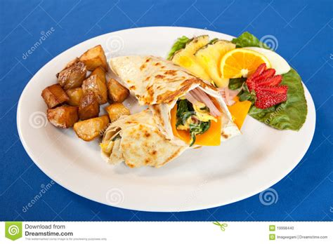 cheese spinach ham breakfast eggs ham cheese and spinach breakfast wrap platter stock photo image 19998440