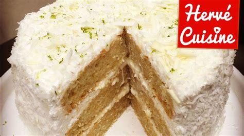 herve cuisine recette gâteau layer cake coco citron vert et chocolat