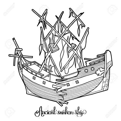 Barco Roto Dibujo by Wreck Clipart Sunken Ship Pencil And In Color Wreck