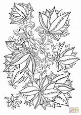 Coloring Pattern Floral Pages Printable Supercoloring Categories sketch template