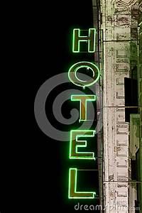 Luminous Neon Lights Hotel Sign Vertical Stock