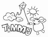Timmy Coloring Kite Sun Playing Shining Bright Sky sketch template