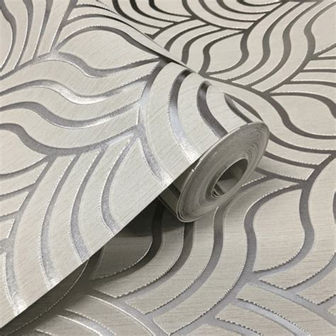 muriva silver grey precious silk art deco wallpaper