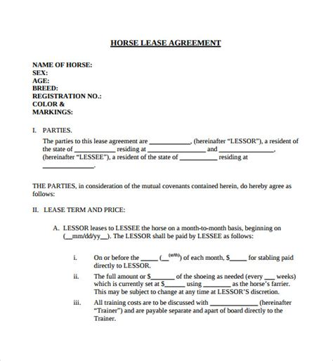 horse lease agreement templates samples examples